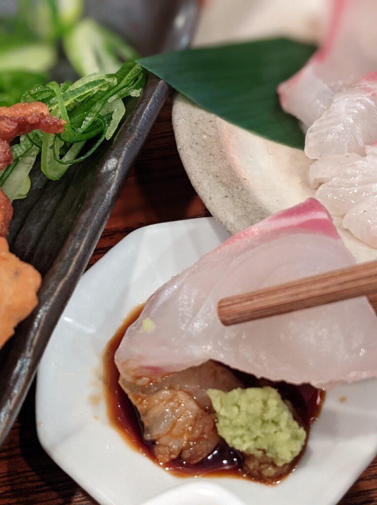 萬屋錦唐揚げとお刺身の定食